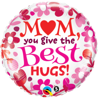 "18"" Mom - Best Hugs Foil Balloon - Unpkg"