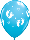 "11"" Baby Boy Footprints & Hearts Latex Balloons - 50ct"