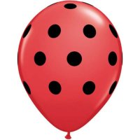"11"" Big Polka Dots Red with Black Dots Latex Balloons - 50ct"
