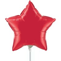 "9"" Ruby Red Star Air-Fill Foil Balloon"
