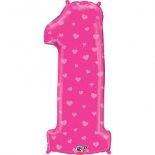 "38"" Number One Pink Hearts Shape Foil Balloon"