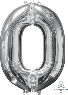 "26"" x 20"" Silver Number 0 Mid-Size Foil Balloon"