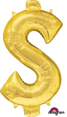 "34"" Gold Dollar Sign ($) SuperShape Foil Balloon"