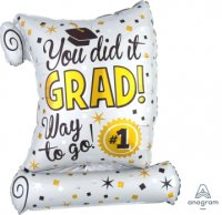 "22"" x 26"" You Did It Diploma SuperShape Foil Balloon - Pkg"