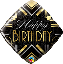 "18"" Birthday Art Deco Foil Balloon - Pkg"
