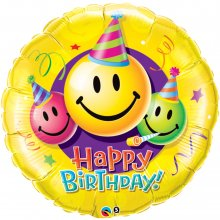 "36"" Birthday Smiley Faces Foil Balloon - Pkg"