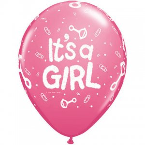 "11"" It's A Girl Rattle Latex Balloons - 50ct"