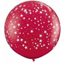 3ft Stars-A-Round Ruby Red Latex Balloons - 2ct