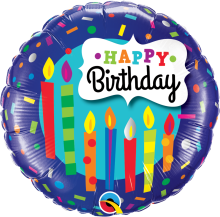 "18"" Birthday Candles & Confetti Foil Balloon - Pkg"