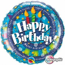"18"" Birthday Spiral & Candles Holographic Foil Balloon - Pkg"