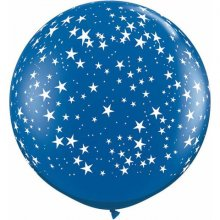 3ft Stars-A-Round Sapphire Blue Latex Balloons - 2ct