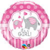 "18"" It's A Girl Elephants Foil Balloon - Pkg"