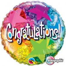 "18"" Congratulations Star Patterns Holographic Foil Balloon - Pkg"