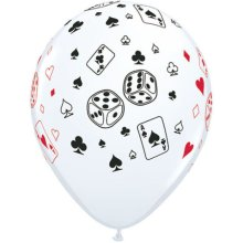 "11"" Cards & Dice White Latex Balloons - 50ct"