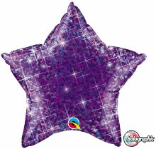 "20"" Holographic Jewel Purple Star Foil Balloon"