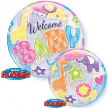 "22"" Welcome Baby Animal Patterns Bubble Balloon"