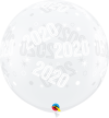 3ft - 2020 Sparkles & Dots Clear Latex Balloon - 2ct
