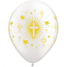 "11"" Cross & Doves w/Gold Ink Latex Balloons - 50ct"