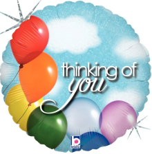"18"" Thinking Of You Balloons & Sky Holographic Balloon - Pkg"