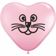 "6"" Cat Face Pink Heart Latex Balloons - 100ct"