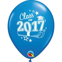 "11"" Class of 2017 Latex Balloons - Dark Blue"