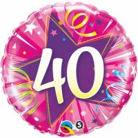 "18"" #40 Shining Star Hot Pink Foil Balloon - Pkg"