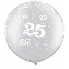 "30"" 25-A-Round Silver Latex Balloons - 2ct"