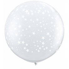 3ft Stars-A-Round Diamond Clear Latex Balloons - 2ct