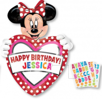 "24"" x 33"" Minnie Mouse Birthday Personalized SuperShape Balloon"