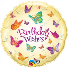"18"" Birthday Wishes Butterflies -Pkg"