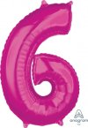 "26"" x 17"" Magenta Number 6 Mid-Size Foil Balloon"