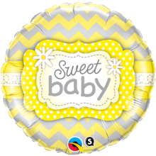 "18"" Sweet Baby Yellow Patterns Foil Balloon - Pkg"