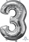 "26"" x 17"" Silver Number 3 Mid-Size Foil Balloon"