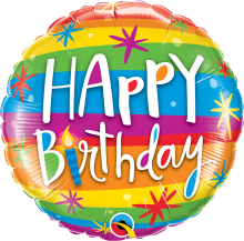 "18"" Birthday Rainbow Stripes Foil Balloon - Pkg"