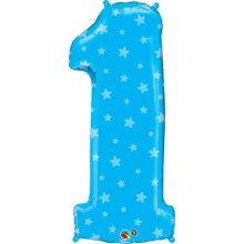 "38"" Number One Blue Stars Shape Foil Balloon"