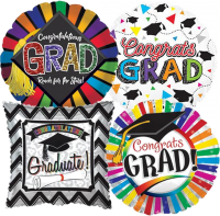 "18"" Graduation Assorted Styles Foil Balloons"