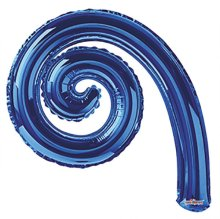 "14"" Royal Blue Kurly Spiral Foil Air-Fill Balloons - 10ct"