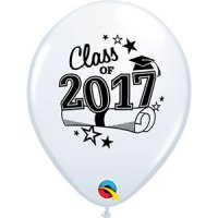 "11"" Class of 2017 Latex Balloons - White"