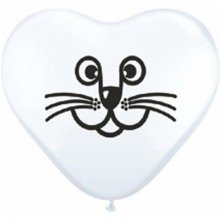 "6"" Cat Face White Heart Latex Balloons - 100ct"