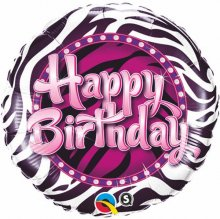 "18"" Birthday Zebra Print Foil Balloon - Pkg"