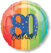 "18"" A Year to Celebrate 80 Foil Balloon - Pkg"