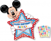 "24"" x 30"" Mickey Mouse Birthday Personalized SuperShape Balloon"