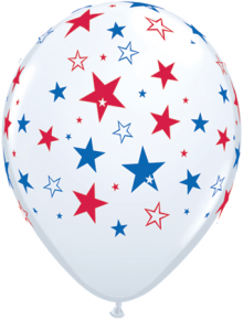 "11"" Red & Blue Stars on White Latex Balloons - 50ct"