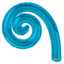 "14"" Turquoise Kurly Spiral Foil Air-Fill Balloons - 10ct"