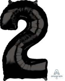 "26"" x 17"" Black Number 2 Mid-Size Foil Balloon"