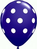 "11"" Big Polka Dots Quartz Purple Latex Balloons - 50ct"