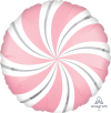 "18"" Satin Infused Bubble Gum Pink Candy Swirl Balloon - Unpk"