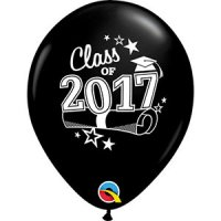 "11"" Class of 2017 Latex Balloons - Onyx Black"