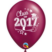 "11"" Class of 2017 Latex Balloons - Sparkling Burgundy"
