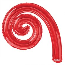 "14"" Red Kurly Spiral Foil Air-Fill Balloons - 10ct"